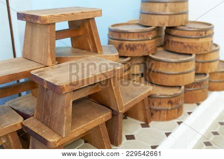 Seat For Onsen Is Made From Wood Of Japan. And A Wooden Shovel Bathing Culture Of Japan Total Bathro