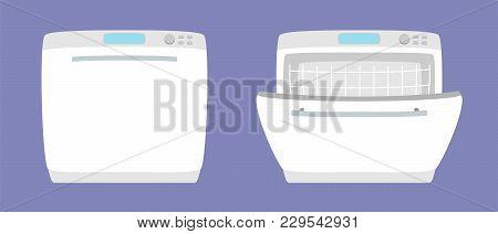 Dishwashing Machine Simple Icon Isolated. Household Appliance. Kitchen Dishwasher For Dishes. Flat S