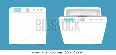 Dishwashing machine simple icon isolated. Household appliance. Kitchen dishwasher for dishes. Flat style. Vector illustration poster