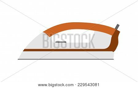 Iron Simple Icon Isolated. Household Appliance. Steam Electric Iron For Clother. Flat Style. Vector