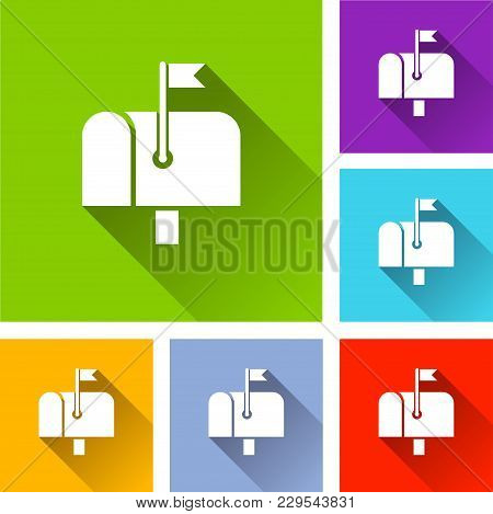 Illustration Of Letter Box Icons With Shadow