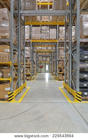 Corridors And Aisles In Distribution Warehouse Interior