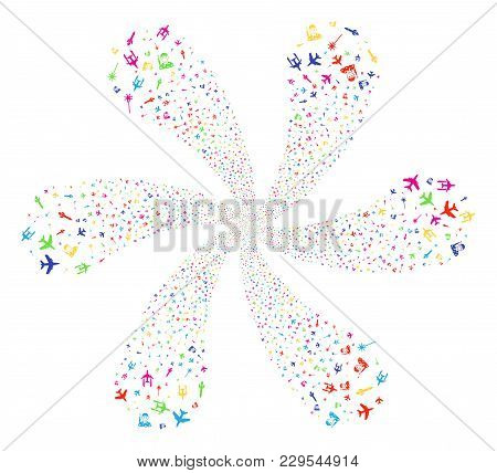Multicolored Army Attack Exploding Flower Cluster. Psychedelic Spiral Composed From Scatter Army Att
