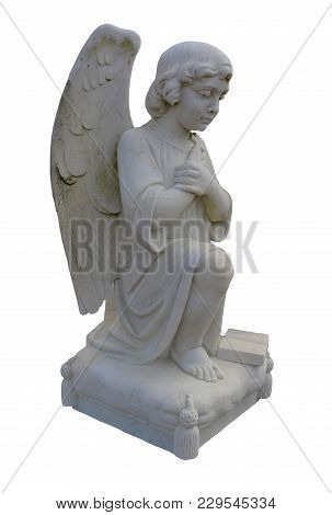 Side View Of A Kneeling, Praying Angel Statue