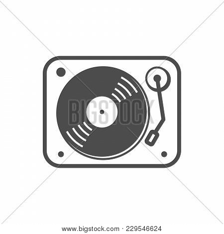 Turntable Simple Icon White Vector Symbol Graphic Logo Design