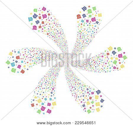 Multicolored Bank Building Rotation Flower With 6 Petals. Suggestive Spiral Done From Scatter Bank B