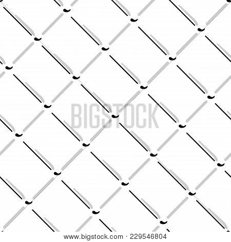 Vector Wire Mesh Seamless Pattern. Gray Wire Mesh Isolated On White Background