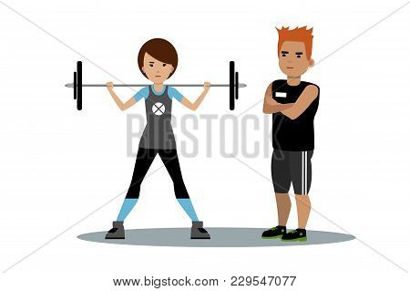 Vector Of Young Woman Lifting Barbell Under Male Trainers Control. Weightlifting, Fitness, Bodybuild