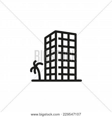 Icon Of Apartment Building With Palm. Tree, Tower, Block Of Flats. Architecture Concept. Can Be Used