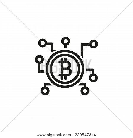 Icon Of Bitcoin Network. Connection, Blockchain, Branches. Cryptocurrency Concept. Can Be Used For T