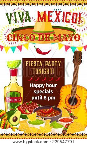 Cinco De Mayo Fiesta Celebration Invitation Poster Design For Happy Hour On Tequila, Jalapeno Pepper