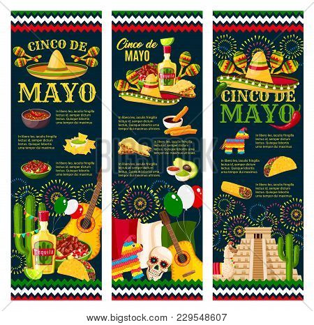 Cinco De Mayo Festival Greeting Banner For Mexican Holiday Celebration Design. Latin American Fiesta