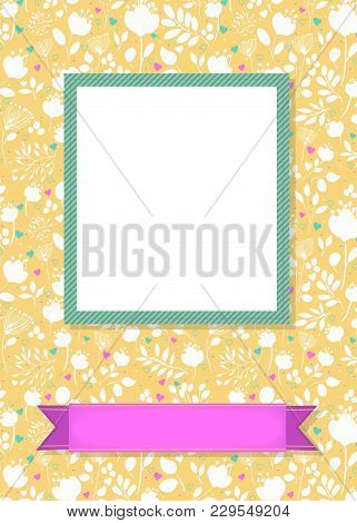 Floral Greeting Card. Graceful White Silhouettes Of Flowers And Plants. Green Frame For Custom Photo