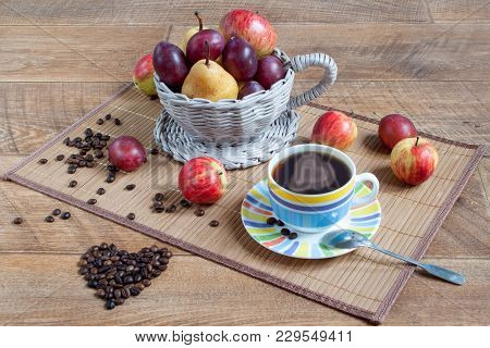 Autumn Still Life With Various Gifts Of Nature. Cup Of Coffee And Cofee Beans. Latte-art. Conception