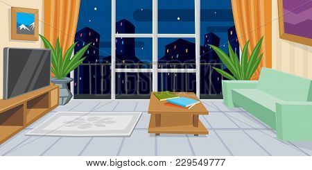 Modern Domestic Room Flat Vector Illustration. Home, House, Coziness, Comfort, Tv. Interior Concept.