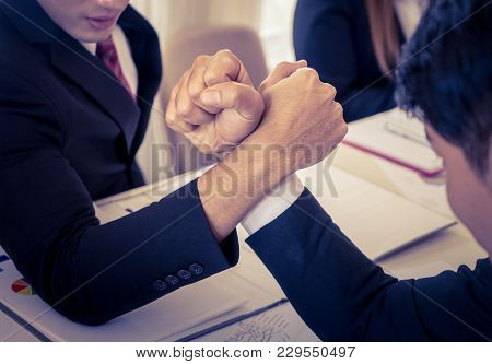Arm Wrestling In Business Meeting For Business Competitive Cocnept