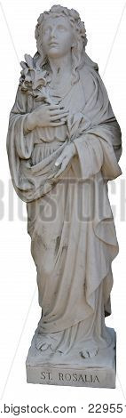 A Statue Of Saint Rosalia On An Isolated White Background
