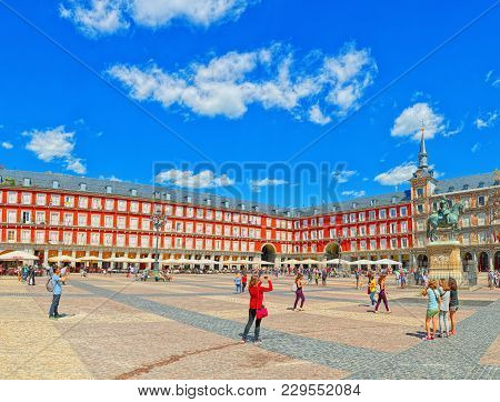Main Square (plaza Mayor) With Tourists And People, Was Built Du