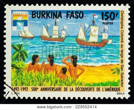 Ships Of Columbus And Natives On Postage Stamp