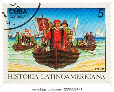 Moscow, Russia - March 05, 2018: A Stamp Printed In Cuba Shows Christopher Columbus And  His Crew In