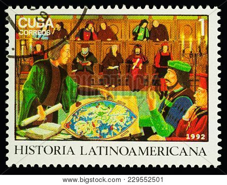 Moscow, Russia - March 04, 2018: A Stamp Printed In Cuba Shows Christopher Columbus With Scroll, Bef