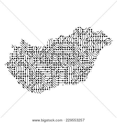 Abstract Schematic Map Of Hungary From The Black Printed Board, Chip And Radio Component Of Vector I