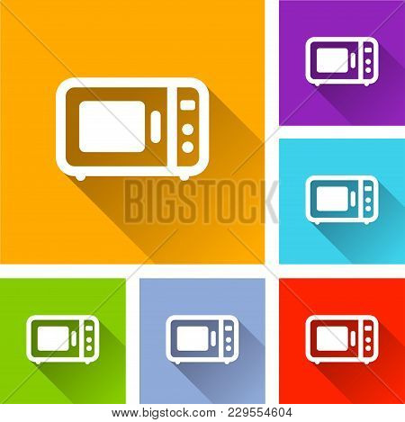 Illustration Of Oven Icons With Long Shadow