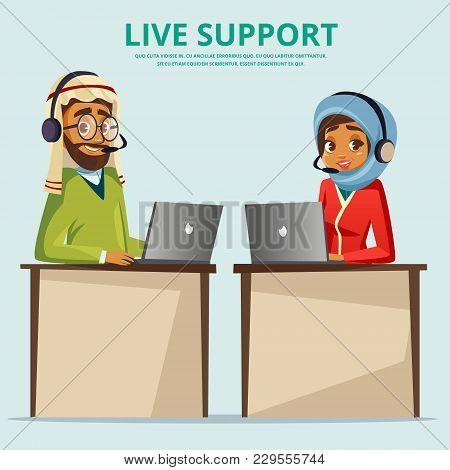 Vector Cartoon Muslim Arab Man Woman Call Center Helpline Workplace Desk. Male Female Office Arabic