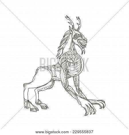 Doodle Art Illustration Of A Wendigo Or Windigo, An Algonquian Mythical Cannibal Monster Or Evil Spi