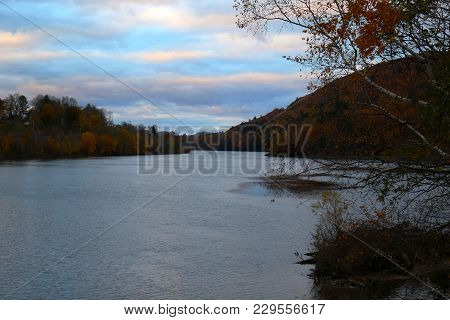 A River In New England At The End Of Fall And Right Before Sunset.