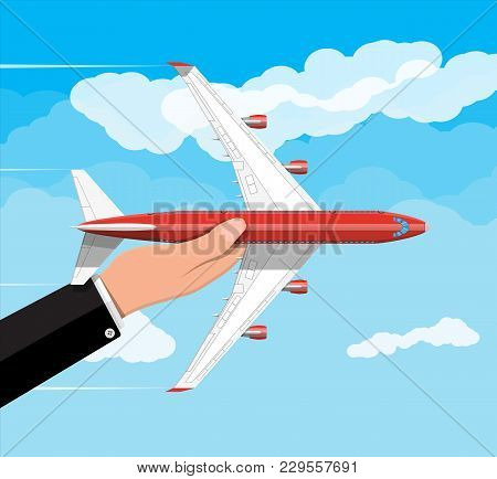 Airplane Top View. Passenger Or Commercial Jet In Hand. Sky With Clouds. Aircrfat In Flat Style. Jou