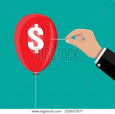 Hand With Needle Pierces The Balloon With Dollar Sign. Concept Of Economy Problem Or Financial Crisi
