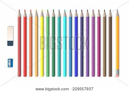 Set Of Colored Realistic Pencils With Sharpener And Eraser Isolated On White. School Tools, Colored