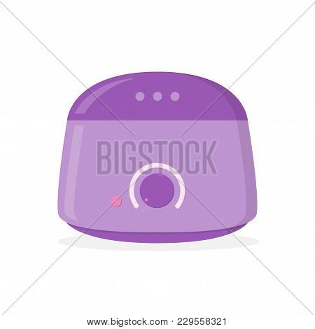 Hot Wax Warmer Isolated On White Background. Device For Removal Hair. Flat Design. Vector Illustrati