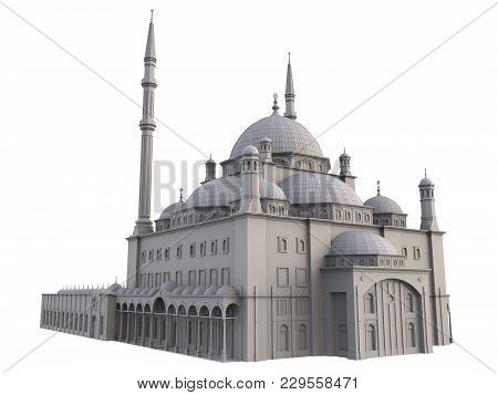 A Large Muslim Mosque, A Three-dimensional Raster Illustration With Contour Lines Highlighting The D