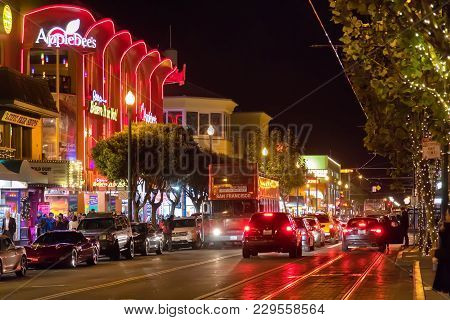 San Francisco , California, Usa - May 1, 2015 : A Night View Of The Embarcadero Near Pier 39