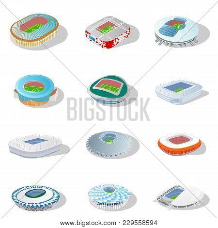 Stadium In Isometric Icon. Infographic Elements Soccer Arena. Football Stadium Building. Full Color