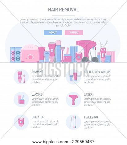 One Page Web Design Template. Hair Removal. Flat Design. Website Elements Layout. Vector Illustratio