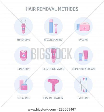 Hair Removal Methods Icons Set: Threading, Shaving, Depilatory Cream, Waxing, Epilation, Sugaring, L