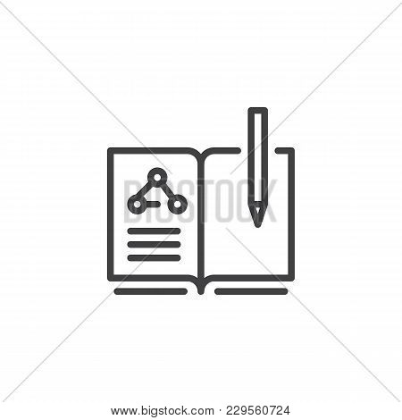 Chemistry Book And Pen Outline Icon. Linear Style Sign For Mobile Concept And Web Design. Education