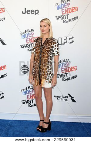LOS ANGELES - MAR 3:  Margot Robbie_ at the 2018 Film Independent Spirit Awards at the Beach on March 3, 2018 in Santa Monica, CA