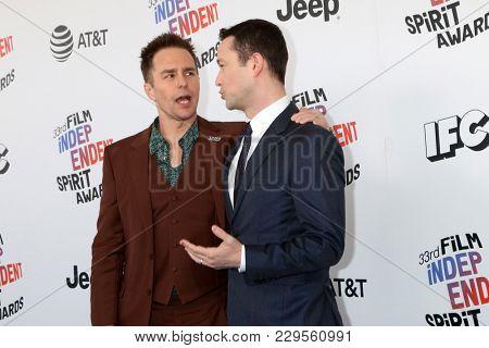LOS ANGELES - MAR 3:  Sam Rockwell, Joseph Gordon-Levitt at the 2018 Film Independent Spirit Awards at the Beach on March 3, 2018 in Santa Monica, CA
