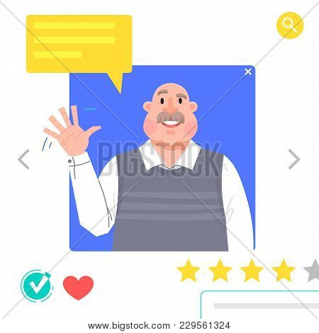 Portrait Of Man - Graphic Avatars For Social Networking Or Dating Site. The Grandfather Waves His Ha