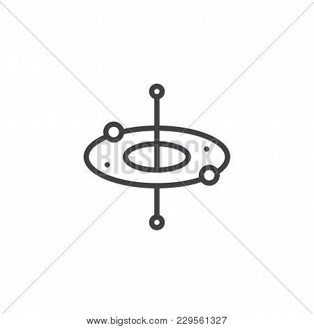 Atom Round Structure Outline Icon. Linear Style Sign For Mobile Concept And Web Design. Electron Orb