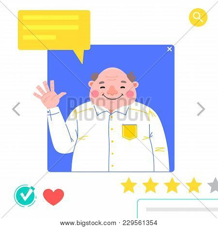 Portrait Of Man - Graphic Avatars For Social Networking Or Dating Site. The Fat Man Waves His Hand I