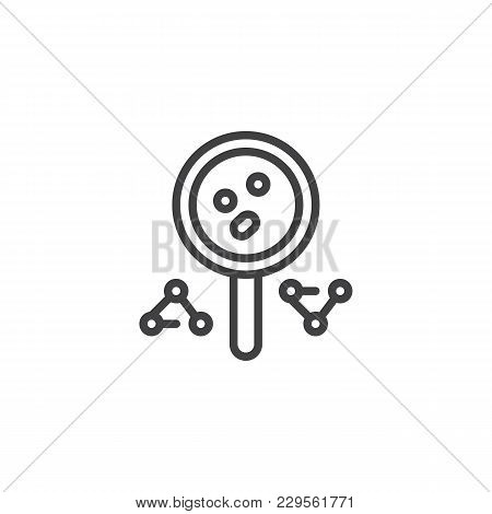 Magnifying Glass And Molecule Outline Icon. Linear Style Sign For Mobile Concept And Web Design. Mag