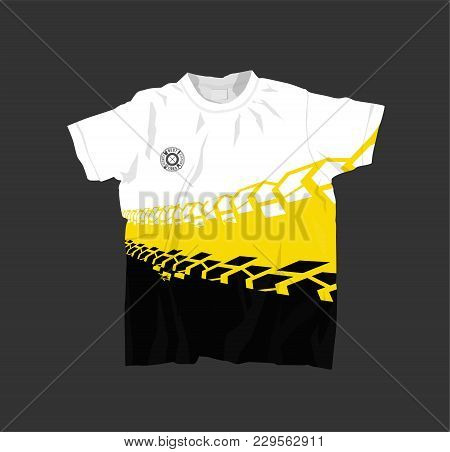 Stylish T-shirt With Off Road Texture. Grunge Tire Track Pattern. Vector Illustration Useful For Swe