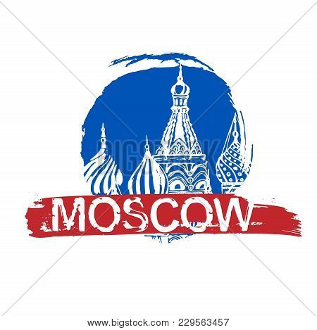 Moscow Image With Saint Basil S Cathedral. Vector Hand Drawn Typography Illustration. Russian Decora