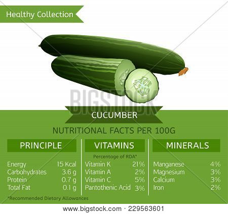 Cucumber Health Benefits. Vector Illustration With Useful Nutritional Facts. Essential Vitamins And