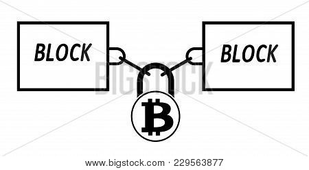 Bitcoin Block Chain Technology Icon,vector Disign,disign Concept On A White Background ,interlocking